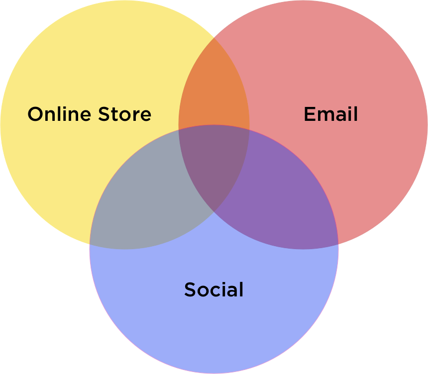 Online Store Email Social Media Intersection Diagram