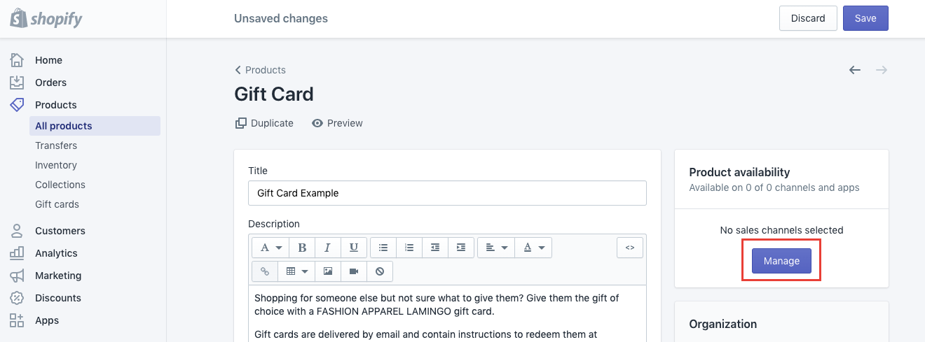 how to enable shopify gift cards