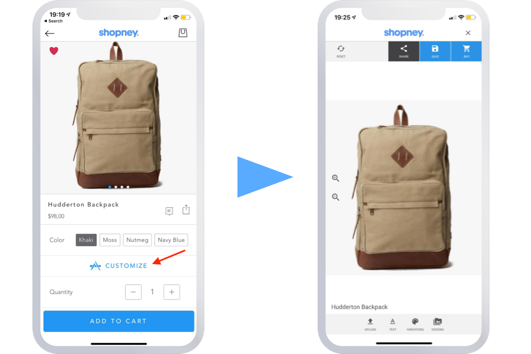 product customization in native iOS and Android apps