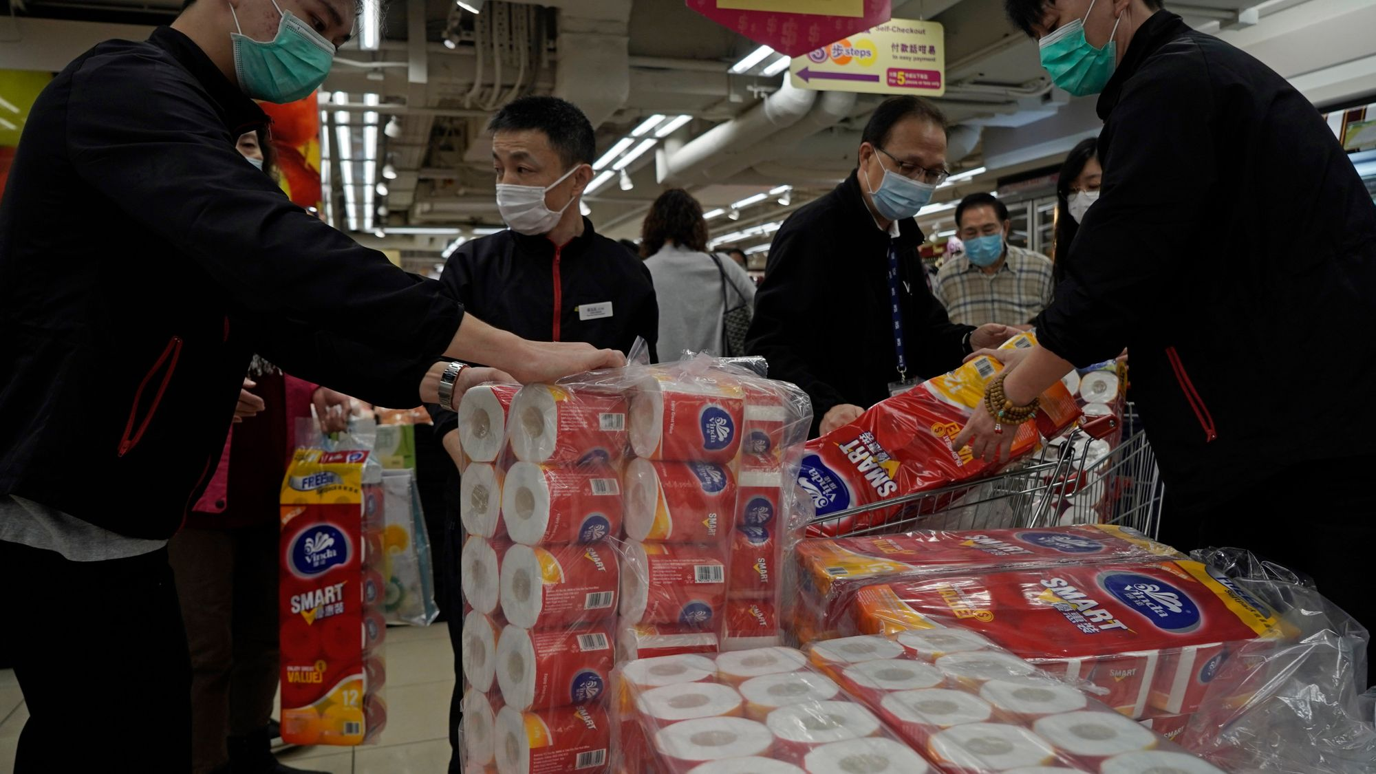 people stocking up toilet paper