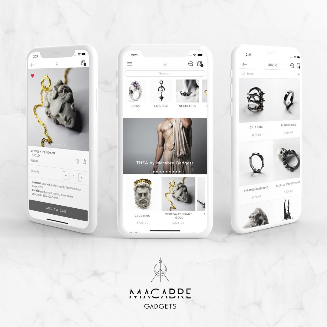 The native mobile app of Macabre built by Shopney
