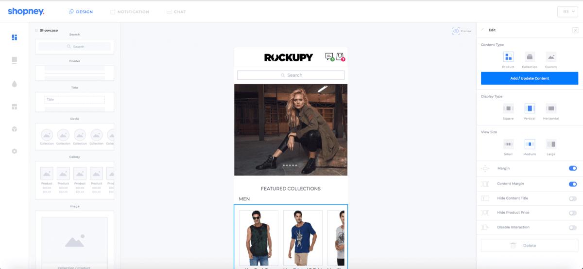 Drag-n-drop mobile app design editor of Shopney