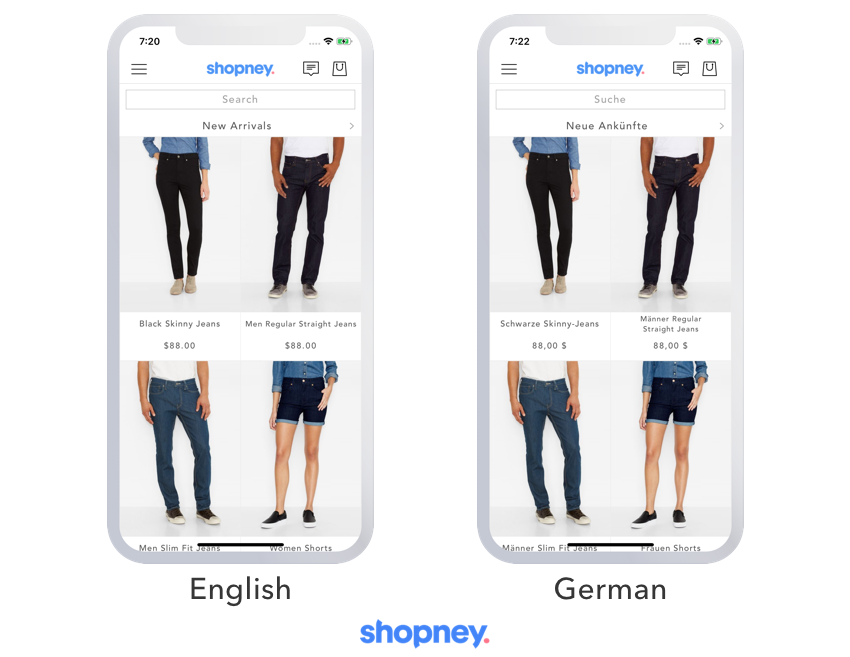The same mobile app content in 2 languages in the image