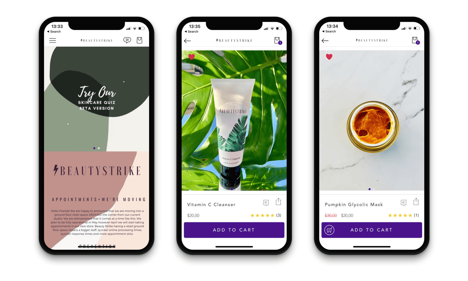 Beauty Strike Mobile App Design - Shopify mobile app