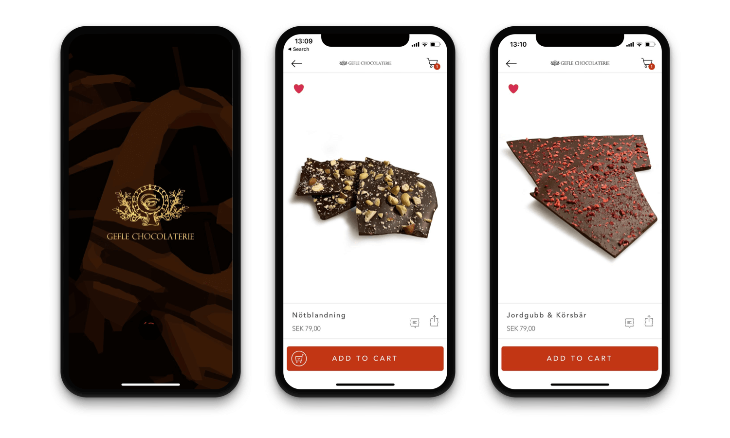 Gefle Chocolaterie Mobile App Design