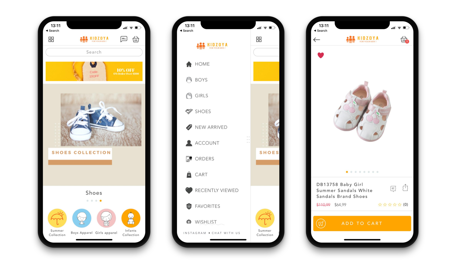 Kidzoya mobile app design for Shopify store