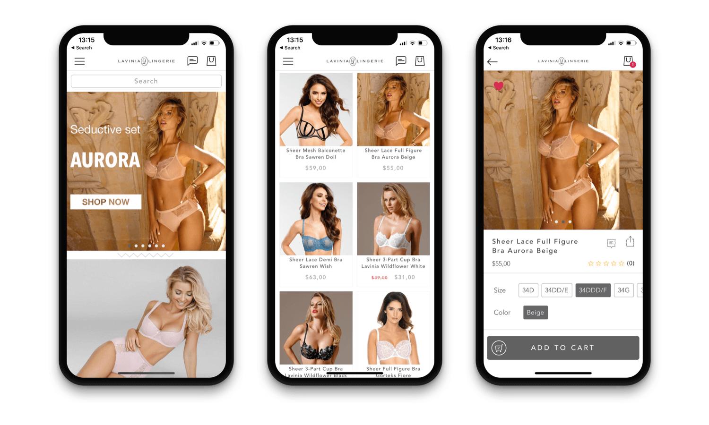 Lavinia Lingerie Mobile App Design