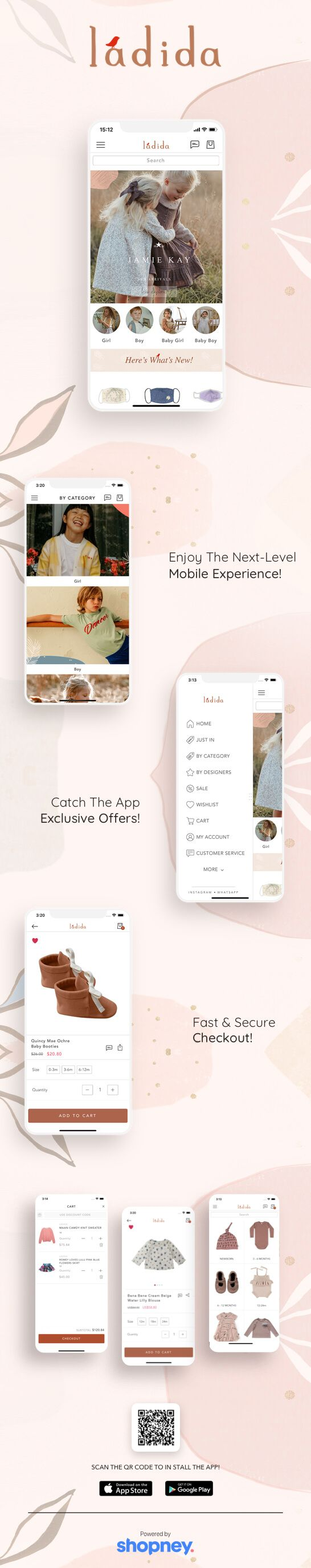 Ladida's mobile app built by Shopney