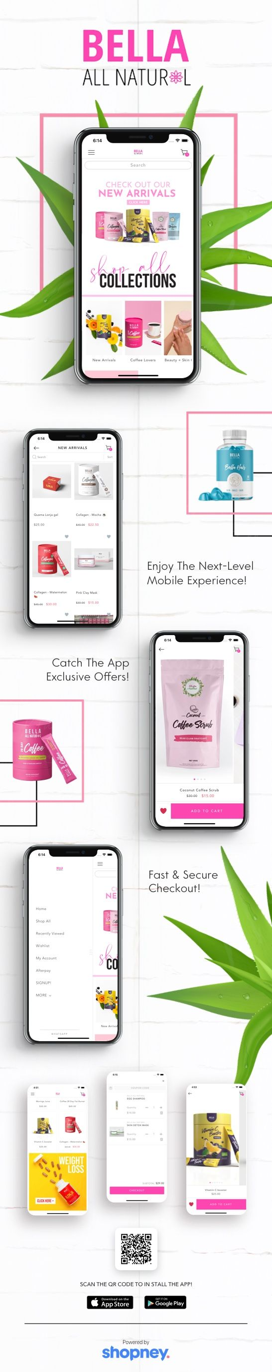Bella All Natural mobile app design