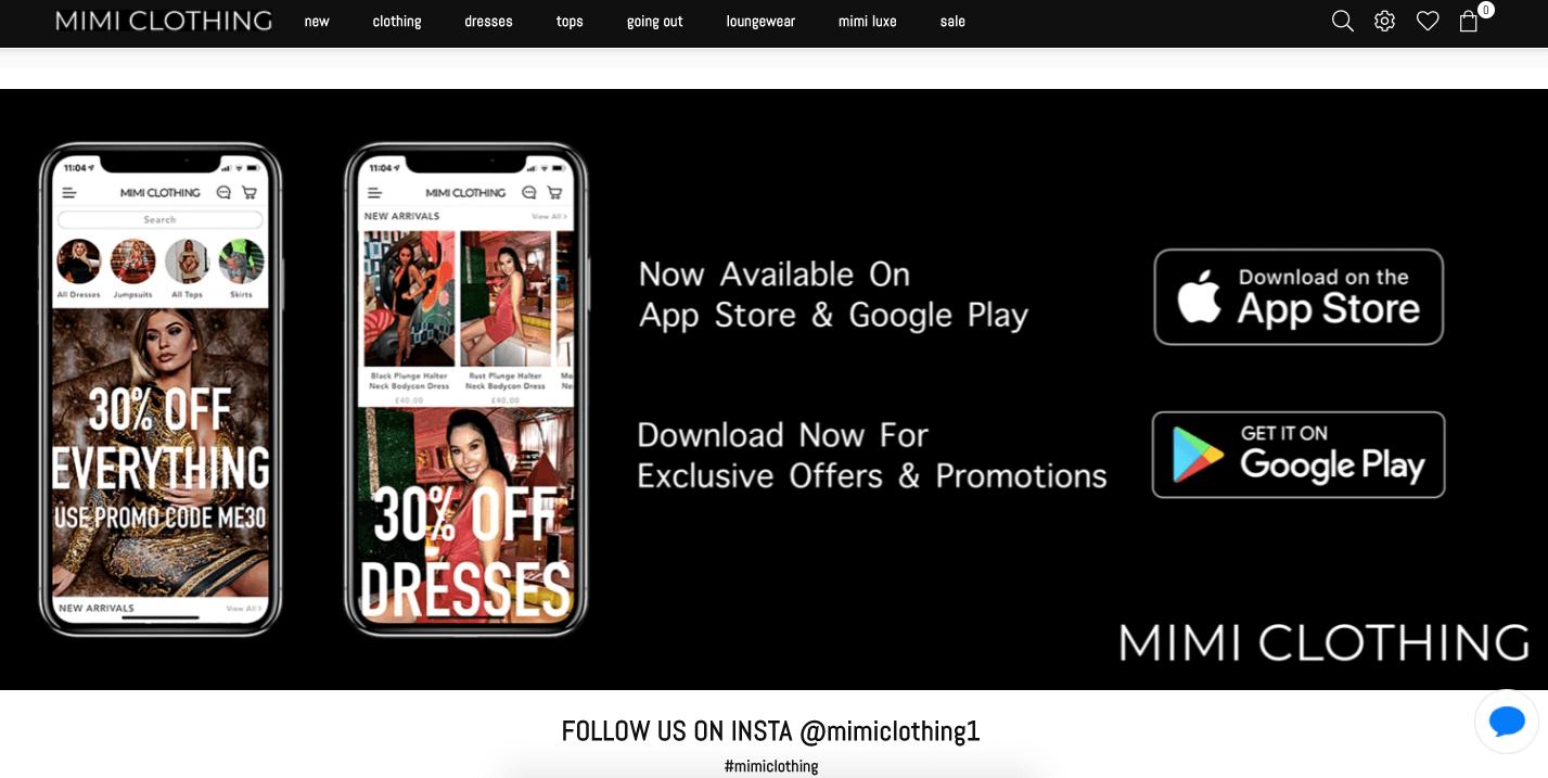 mimi clothing app on website