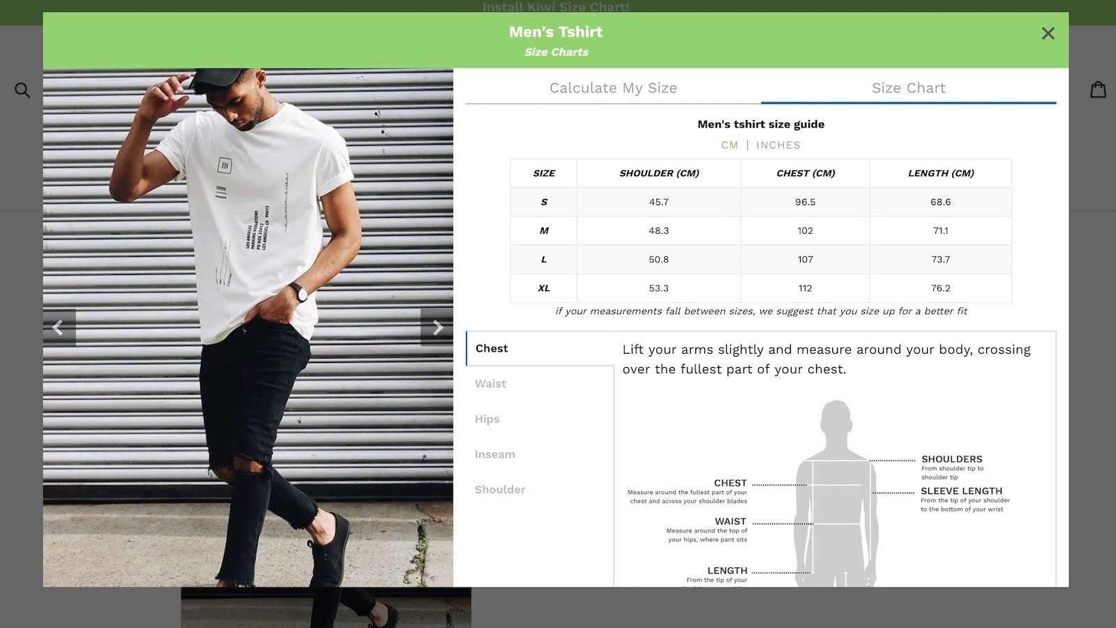 size chart app - shopify