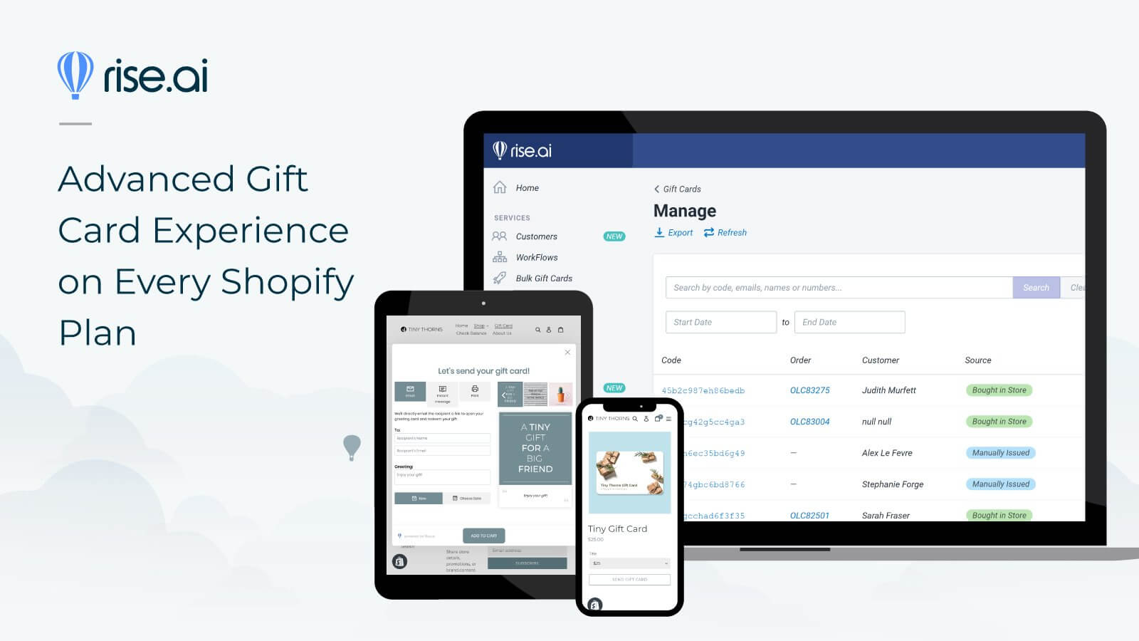 gift cards by rise ai for shopify