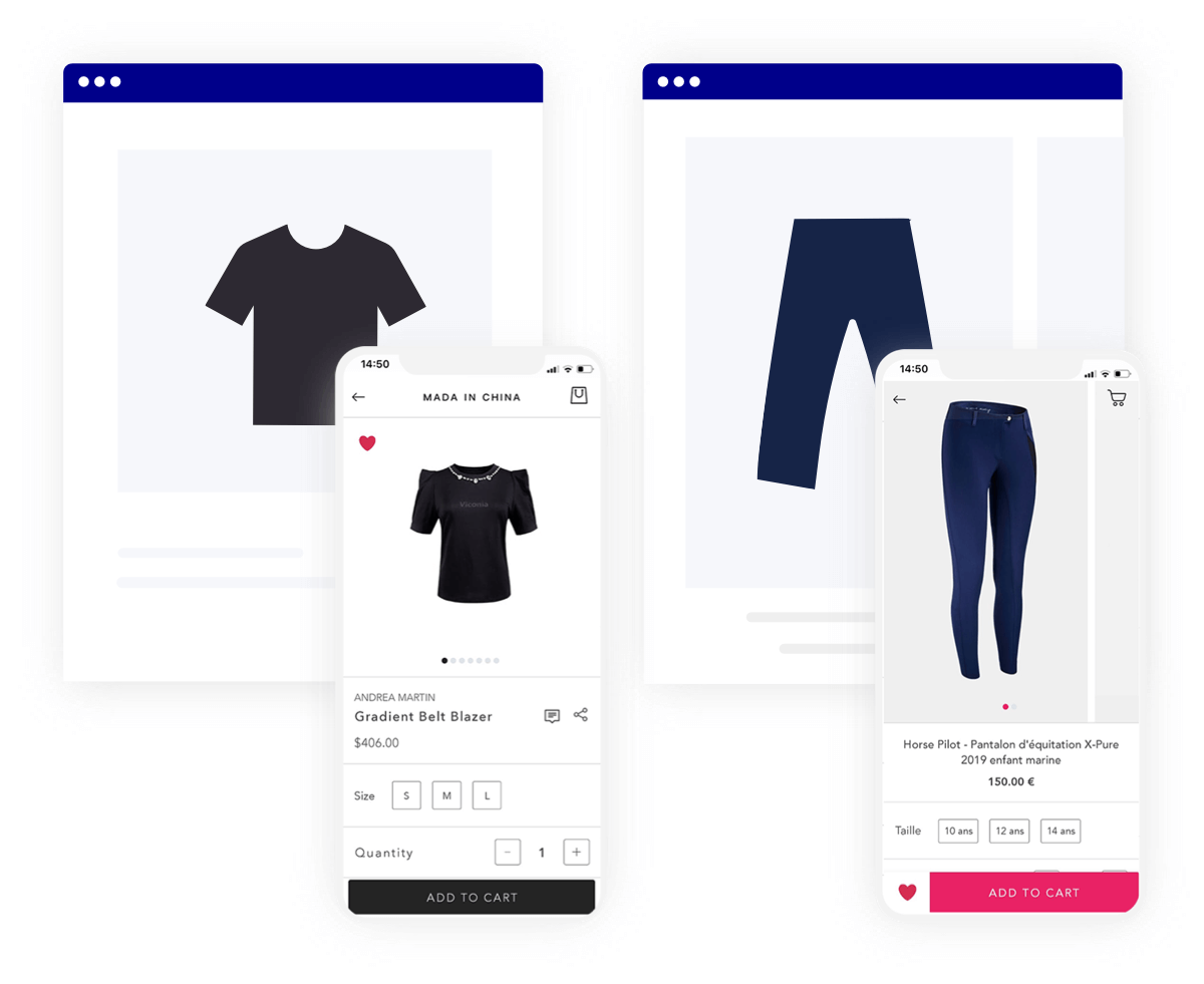 Product Detail Page (PDP) example on mobile app