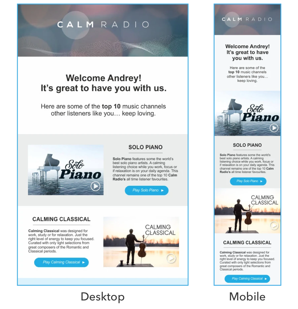 A good example of mobile optimized email template